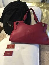 Auth. New Cartier Marcello shoulder HandBag Tote Leather Burgundy Large RRP£1500