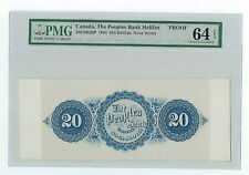 Canada The Peoples Bank Of Halifax, $20 1864, Back Proof Pmg Cu 64 Epq Unlisted