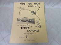 Tempo Canopies Tops for your Truck Vintage 1960s 70s Sales Brochure Automotive