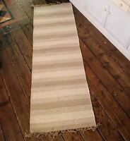 Rug Runner Quality Indian Handmade Natural Cotton Jute Tassels Fairly Traded