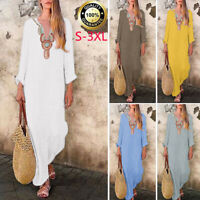 Women's Boho Cotton Linen Long Sleeve V-neck Baggy Kaftan Long Maxi Dress Plus