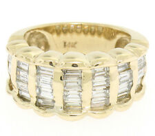 Large 14k Yellow Gold Wide Band 2.36ctw 7 Vertical Channel Baguette Diamond Ring