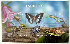 INSECT STAMPS SHEET OF 6 MNH 2002 NEVIS BEETLE BUGS BUTTERFLY CATERPILLAR BEE