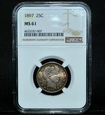 1897-P BARBER QUARTER ✪ NGC MS-61 ✪ 25C SILVER UNCIRCULATED BU UNC ◢TRUSTED◣