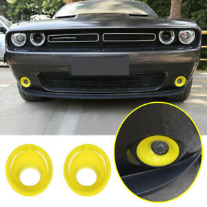 For 2015-2021 Dodge Challenger ABS Yellow Look Front Fog Light Lamp Cover Trim2*