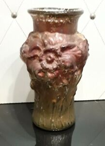 Beautiful Rare & Old Small Glass Vase w 3D Flowers  See Pictures