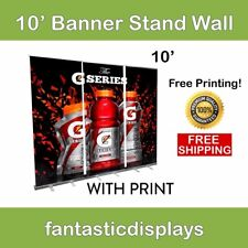 Retractable Roll Up Banner Stand Wall 10' Trade Show Display + Free Vinyl Print