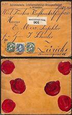 SVIZZERA-Due 5c+25c Helvetia-Raccomandata Winterthur->Zurigo 2.6.1902