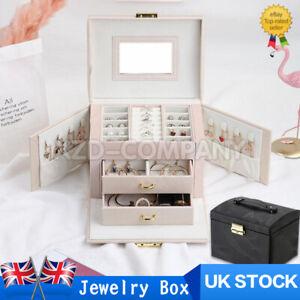 UK Large Jewellery Box Leather Finish Storage Drawer Cabinet Necklace Organizer