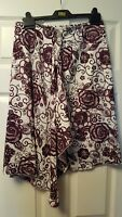 Benetton white and purple floral wrap skirt size 12