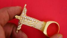 Mens Huge Standing Jesus Ring 50 Grams 10k Gold 5 Carat Diamonds Iced Out Deal!