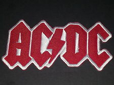 ROCK METAL MUSIC SEW/IRON ON PATCH:- AC/DC (a) RED LETTERS WHITE LIGHTNING BOLT