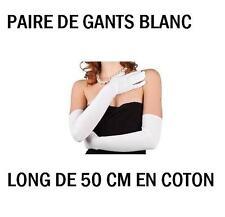Paire Gants long blanc coton 50 cm deguisement charleston Cabaret PROMO