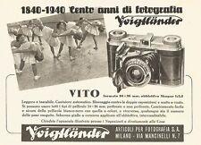 W2699 Cento anni di fotografia Voigtlaender - VITO - Pubblicità del 1940 - Ad