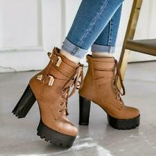 NEW FASHION Women Ankle Punk Boots Combat Thick Heel Boots Shoes Woman Plus Size