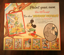 1958 Disney Mickey Mouse Paint by Number Window Pictures,Transogram Complete