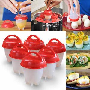 Set of 6 Egg Boiler No Messy Shells Silicone Hard Boiled Egg Cooker HOT NEW