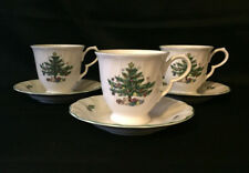 Nikko Happy Holidays Set of 3 Tea Cups and Saucers Christmas Tree Pattern China