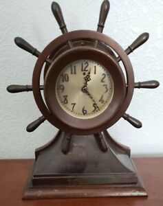 Chelsea Clock Co Yacht Wheel Clock with Electric Cord Connection