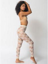 American Apparel Nylon Spandex Stretch Lace Legging Creme  S