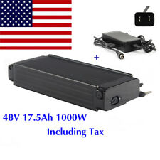48V 17.5Ah 1000W Rear Rack E-bike Lithium Battery fr Electric Bicycle + Charger