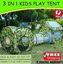 3 in 1 Indoor Outdoor Kids Play House Pop Up Tent Tunnel Army Camo Gift