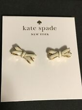 Kate Spade New York Cream And Gold Double Bow Stud Earrings NWT $48