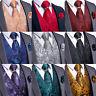 Purple Blue Red Black Paisley Mens Suit Vest Waistcoat Necktie Bow Tie Hanky Set