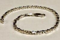 """10k Solid White Gold Anchor Mariner Bullet Link  Bracelet 3.1 MM 8.8 grams  8"""""""
