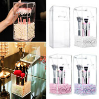 Makeup Case Brush Cosmetic Organizer Storage Box Clear Holder w/Cover Dustproof