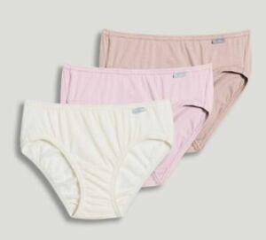 New Jockey Women's size 7 Underwear Elance Cotton Bikini 3 Pack Pink Ivory