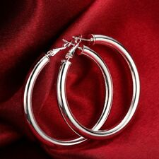 """5mm X 40mm 1 1/2"""" Bold Thick Shiny Hoop Earrings Real 18K White Gold Plated QVC"""