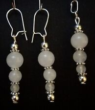 Boho Sterling Silver Plated White Moonstone Earrings And FREE PENDANT