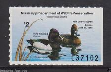 1987 MI-12 MISSISSIPPI  State  Waterfowl Duck Stamp MNH Ring-necked Ducks *