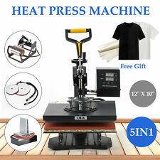 "5 In 1 Digital Heat Press Machine 12"" x 10""For T-Shirt/Mug/Plate Hat Printer"