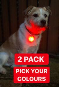 Pet Dog Cat Collar Night Winter LED Light Safety Clip Flashing Neon Pendant UK