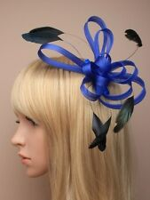 LADIES ROYAL BLUE FASCINATOR FEATHER COMB WEDDING 5322  hatinator HAIR CLIP