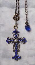 ^v^Halskette*Steampunk*Larp*bronze*necklace*Anhänger*Kreuz*Celtic*creme*blau^v^