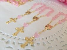 30pcBaptism Favor/ Baptism Favors Pink Tiny Hearts/Recuerditos /mini Rosary Gold