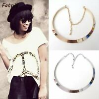 1Pcs  Fashion Women Retro Curved Mirrored Metal Collar Bib Choker Necklace