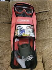 U.S. Divers Snorkel Set w/ Mask, Fins, Snorkel and, Gear Bag Women's size Medium
