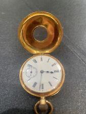 18ct Gold Pocket Watch Rare Collectible Item Antique J W Benson Half Hunter 18k