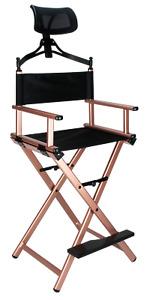 Tall Aluminum Frame Makeup Artist Director's Chair with Adjustable Head Rest