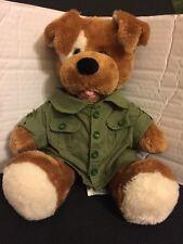 "Build a Bear Plush Brown /White Spot Puppy Dog / Military Jacket 14"""