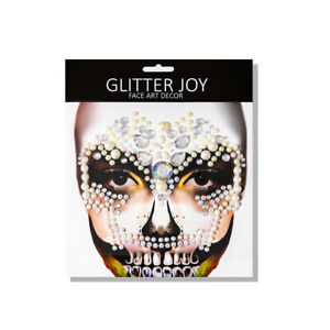 Punk Skull Face Gem Stickers Body Paint Decals Halloween Dressing Party Rock--