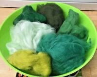 Wool Rovings-Botany Lap Waste-30g Greens-Tops-Felting-Spinning-Crafts-Toys/Dolls