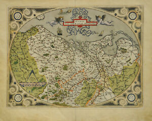 Ortelius: Descriptio Germaniae Inferioris (um1595). Altkolorierter Kupferstich.