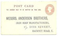 1 / 2D Rosa POST CARD prestampati indirizzo Anderson FRATELLI FERRO Hoop costruttori