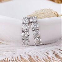 1.10Ct Round Brilliant Cut D/VVS1 Diamond Hoop Earrings In 14K White Gold Finish