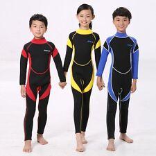 Boys Girls Long Sleeve Swimwear Kids One-Piece Swimsuit Neoprene Diving Wetsuit